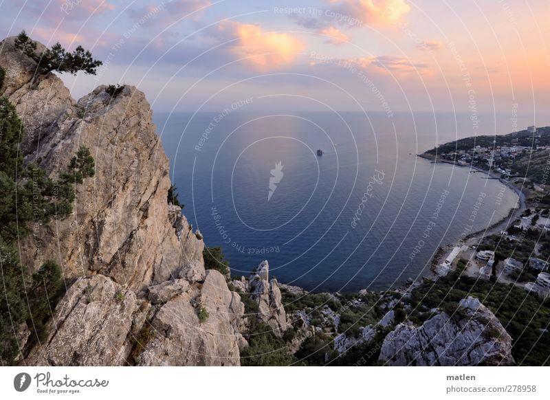 die Kurve gekriegt Landschaft Pflanze Luft Wasser Himmel Wolken Horizont Sonnenaufgang Sonnenuntergang Sommer Schönes Wetter Baum Felsen Gipfel Küste Bucht Meer