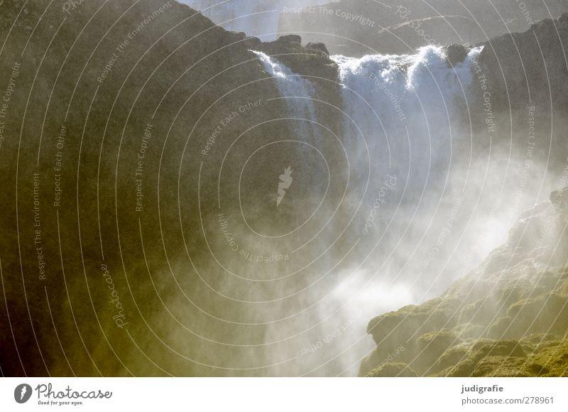 Island Natur Wasser kalt Felsen Kraft natürlich nass Urelemente Fluss fließen Wasserfall gigantisch