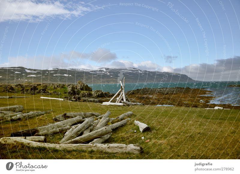 Island Himmel Natur Einsamkeit Landschaft Umwelt kalt Berge u. Gebirge Holz Küste Stimmung Klima natürlich wild Schönes Wetter Idylle Bucht