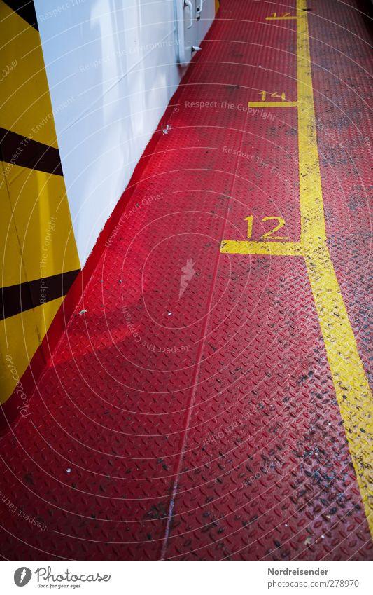 Signalfarben Güterverkehr & Logistik Schifffahrt Fähre Metall Stahl Zeichen Ziffern & Zahlen Schilder & Markierungen Linie Streifen gelb rot weiß Farbe