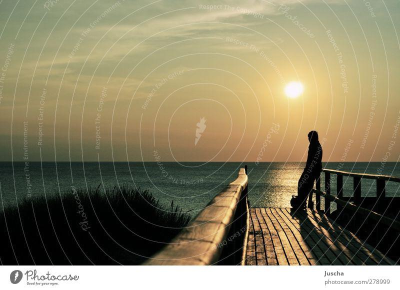 Sonnenuntergang auf Sylt Mensch Himmel Natur blau Wasser Ferien & Urlaub & Reisen Sonne Meer Strand Landschaft Umwelt Wege & Pfade Küste Horizont Stimmung braun