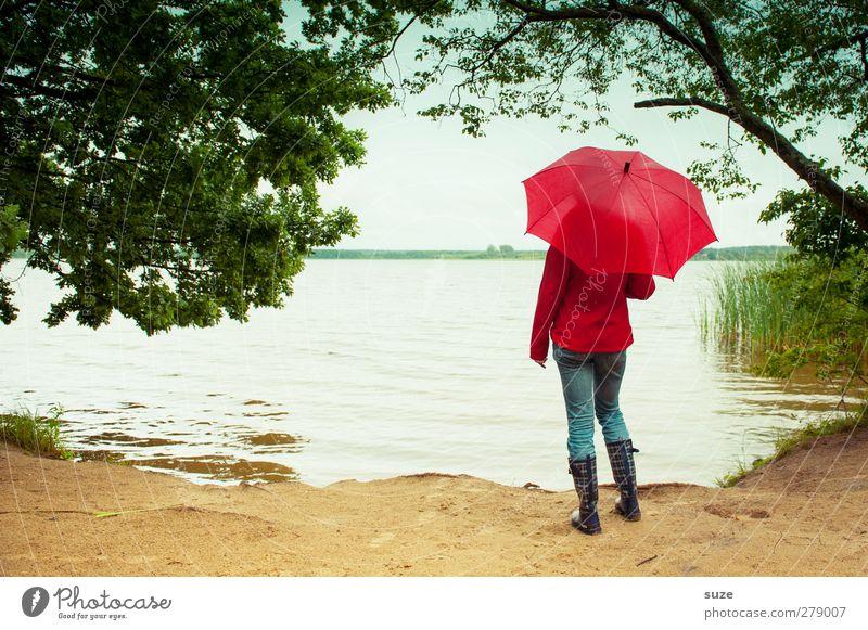 Let it rain Mensch Himmel Natur Jugendliche Sommer Baum rot Strand Einsamkeit Erwachsene Landschaft Umwelt See Mode Luft Horizont