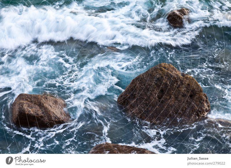 Wirbel Umwelt Wasser Sonnenaufgang Sonnenuntergang Sommer Wellen Küste Riff Meer Insel nass Gran Canaria Felsen Schaum Gischt blau unruhig Aktion wild Stein