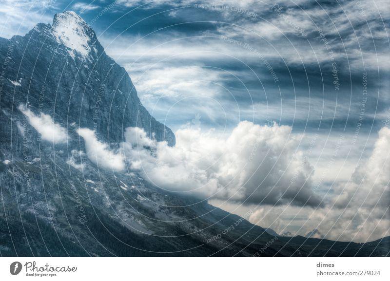 Eiger und Kleine Scheidegg im Panorama (HDR) Ferien & Urlaub & Reisen Landschaft Ferne Berge u. Gebirge Tourismus Spitze Abenteuer Gipfel Alpen Schneebedeckte Gipfel Klettern Sightseeing Bergsteigen gigantisch HDR Eiger