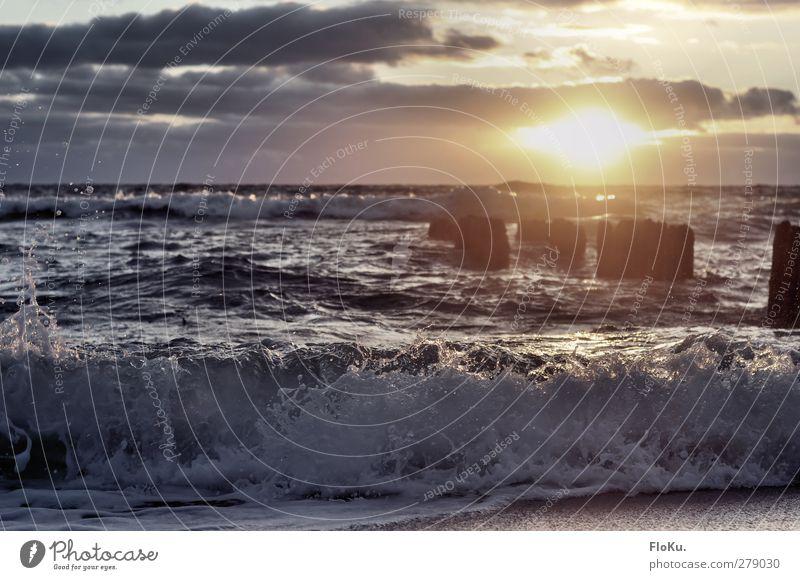 nordische Brandung Ferien & Urlaub & Reisen Ferne Freiheit Strand Meer Wellen Umwelt Natur Urelemente Himmel Wolken Sonne Sonnenaufgang Sonnenuntergang Küste