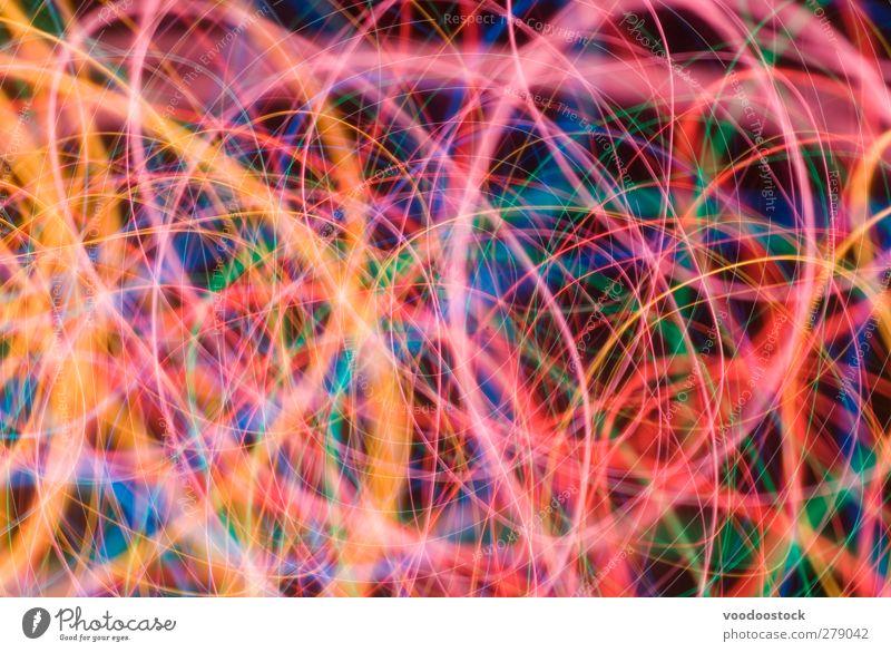 Abstrakte, farbenfrohe Lichtwirbelungen Nachtleben Wege & Pfade Linie hell blau grün orange rosa schwarz Farbe fett bunt hübsch Hintergrund bizarr Einfluss