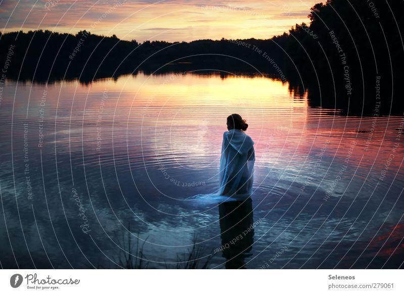 Kreise ziehen Mensch Himmel Natur Wasser Sommer Baum Einsamkeit Wolken ruhig Landschaft Umwelt Küste träumen Horizont Schwimmen & Baden Wellen