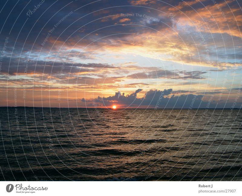 Sonnenuntergang Wasser Sonne Wolken Abenddämmerung Müritz