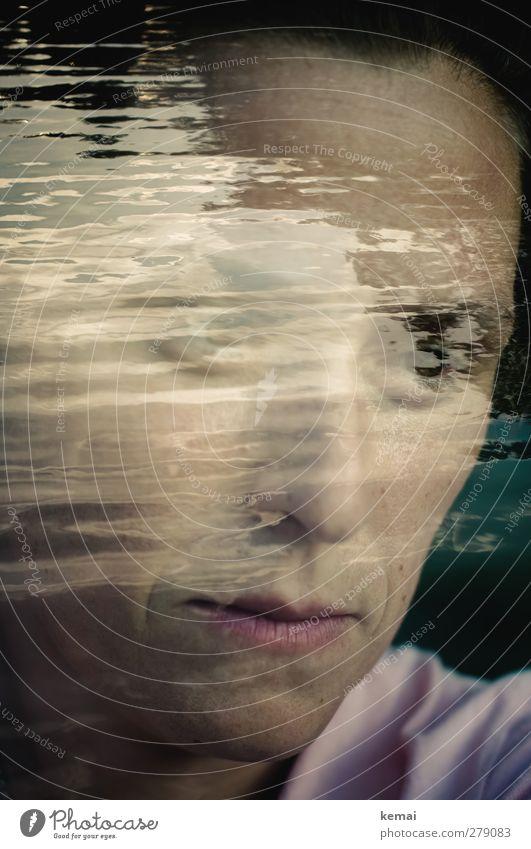 Mein Herz soll ein Wasser sein Mensch Frau Natur Wasser Meer ruhig Erwachsene Auge feminin Leben Gefühle Kopf Traurigkeit See Wellen Mund