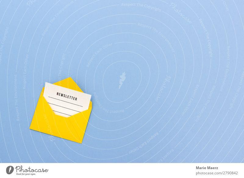 E-Mail Newsletter in Briefumschlag mit Copy Space blau schön gelb Arbeit & Erwerbstätigkeit frisch Kommunizieren Erfolg Freundlichkeit Neugier lesen Information