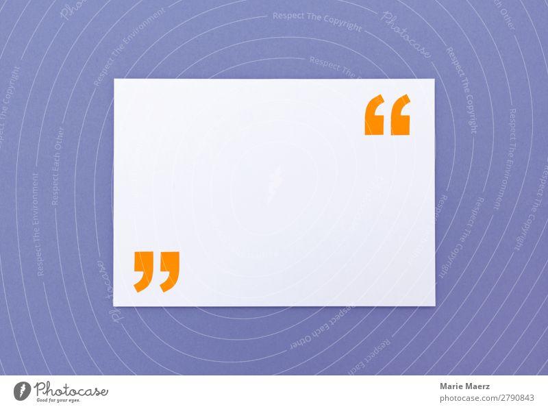 Zettel mit Anführungszeichen für Zitat Bildung Wissenschaften Studium lernen Werbebranche sprechen Kommunizieren positiv violett orange weiß Interesse Erfahrung