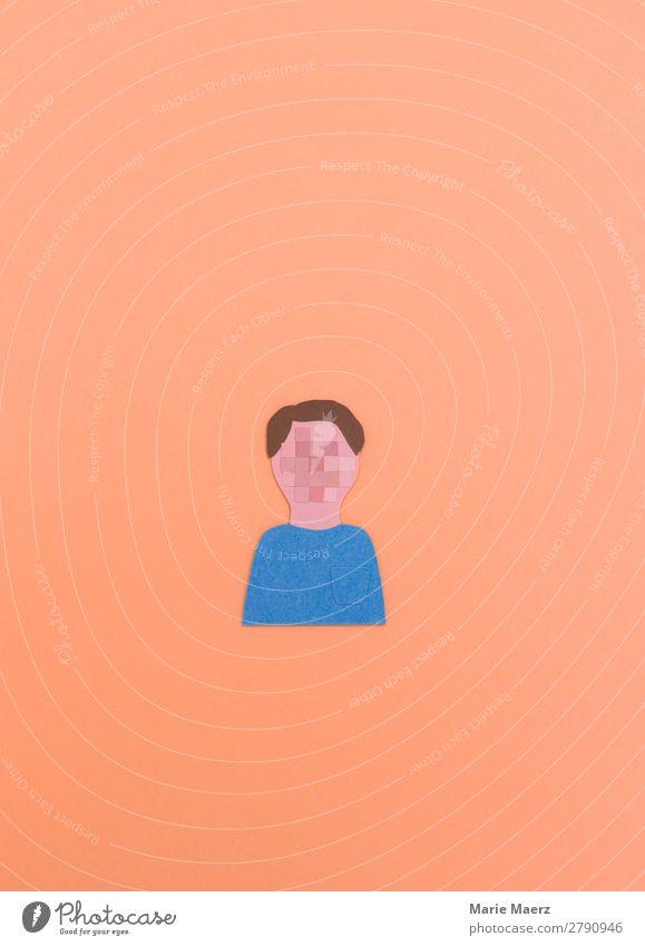 Gesicht durch Pixel unkenntlich gemacht Internet Mensch maskulin androgyn Kopf 1 Blick nerdig mehrfarbig Tugend Laster Sicherheit Schutz Verantwortung achtsam