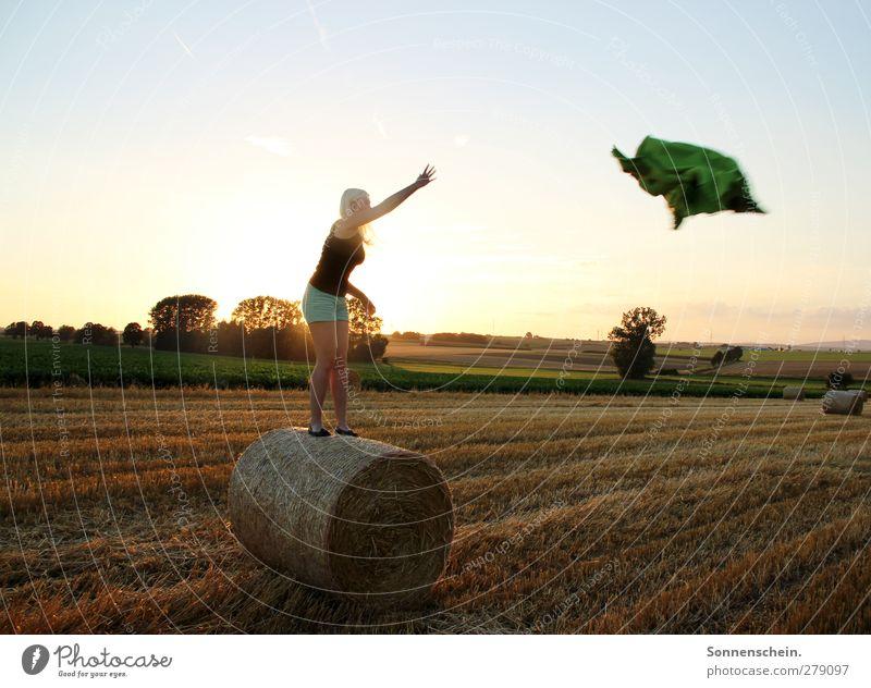 Ab(end)flug Mensch Himmel Natur Jugendliche Sommer Erwachsene Landschaft Ferne feminin Leben Wärme Horizont Stimmung 18-30 Jahre Feld fliegen