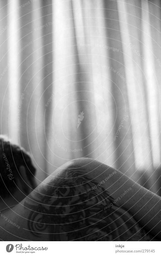 guten Morgen, Gegenlichtmann Lifestyle Stil Erholung ruhig Freizeit & Hobby Häusliches Leben Raum Schlafzimmer Gardine Vorhang Mann Erwachsene Schulter 1 Mensch