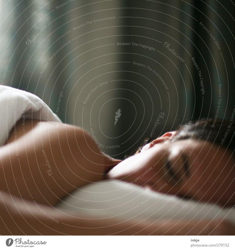 guten Morgen, Gegenlichtfrau Mensch Frau schön ruhig Erwachsene Erholung Leben Gefühle Gesundheit Stimmung Freizeit & Hobby schlafen Häusliches Leben Warmherzigkeit Bett Wellness