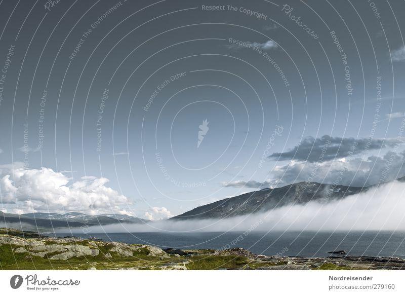 Wetterwechsel Himmel Natur Ferien & Urlaub & Reisen Wolken Landschaft Ferne Berge u. Gebirge Freiheit Stimmung Felsen Klima Nebel Abenteuer Urelemente einzigartig Seeufer