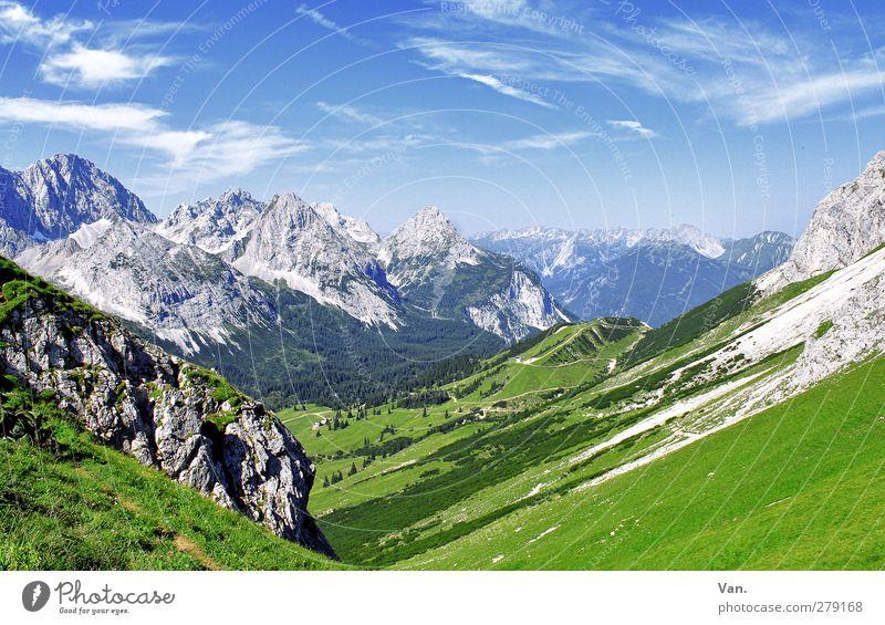 Komm, Wandern! Himmel Natur blau Ferien & Urlaub & Reisen grün Sommer Wolken ruhig Wald Landschaft Berge u. Gebirge Gras Wege & Pfade Felsen wandern
