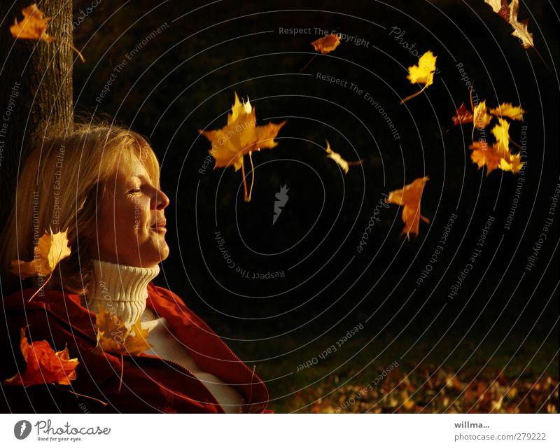 herbstschmeichelei Mensch Frau Natur schön Freude schwarz Erwachsene Gesicht Erholung Herbst Glück träumen blond Freizeit & Hobby sitzen Zufriedenheit