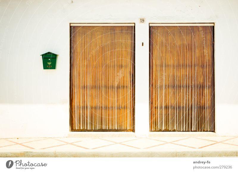 Haus Nr. 19 grün ruhig Straße Wärme Gebäude 2 hell Tür Fassade Autotür einfach Schutz Post eckig Briefkasten