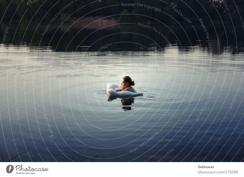 zum Land der Träume Mensch Frau Natur Wasser Sommer Sonne Erwachsene Landschaft Umwelt feminin nackt Küste Kopf See träumen Schwimmen & Baden