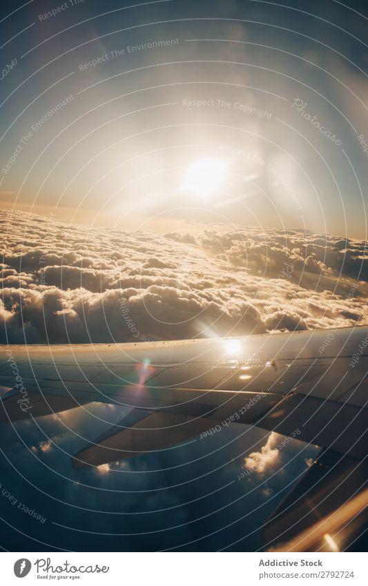 Flugzeugflügel über Wolken und blauem Himmel Tragfläche Aussicht Sonne Ferien & Urlaub & Reisen Höhe Verkehr Tourismus Luftverkehr Etage Fluggerät Ausflug
