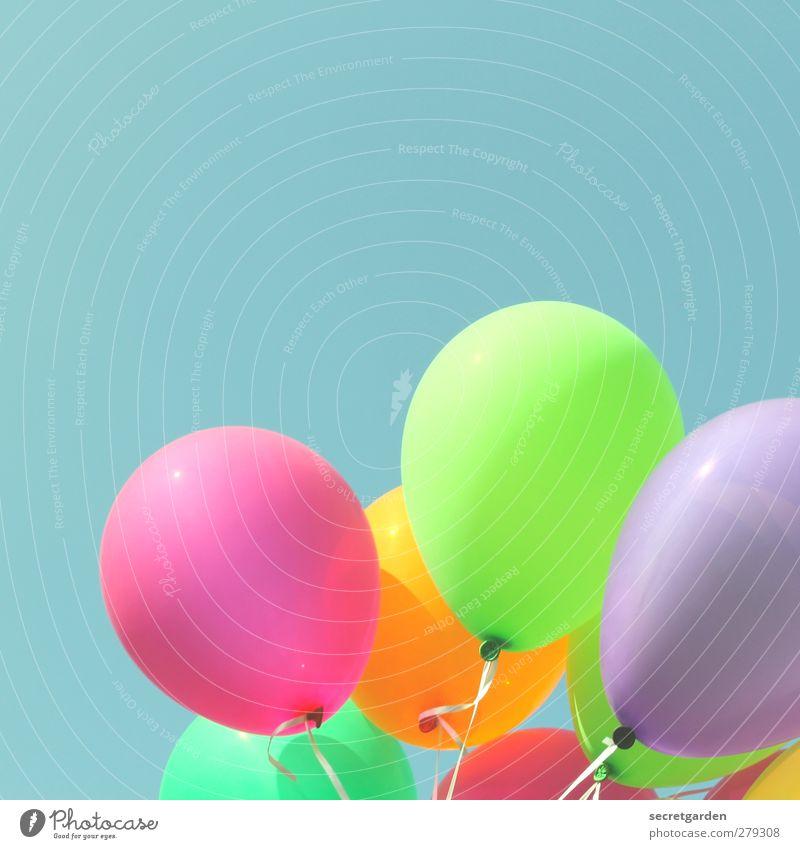 show me heaven. blau grün Sommer Freude Party Feste & Feiern orange rosa Geburtstag Fröhlichkeit Dekoration & Verzierung Schönes Wetter Luftballon Netzwerk rund