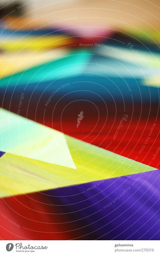 malerei Kunst Gemälde ästhetisch blau mehrfarbig gelb grün violett rot Dynamik Innenaufnahme Schwache Tiefenschärfe
