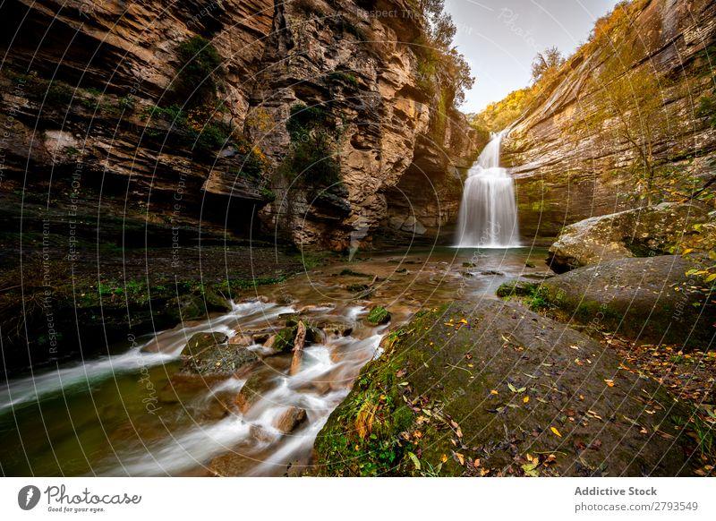 Wasserfall in der Mitte des Berges Wald Natur Fluss Landschaft Park Herbst Ferien & Urlaub & Reisen grün schön Hintergrundbild Berge u. Gebirge strömen