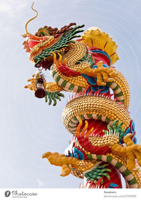 Chinesische Drachenskulptur auf dem Pol Stil Design Ferien & Urlaub & Reisen Dekoration & Verzierung Kunst Skulptur Kultur Tier Himmel Architektur Ornament