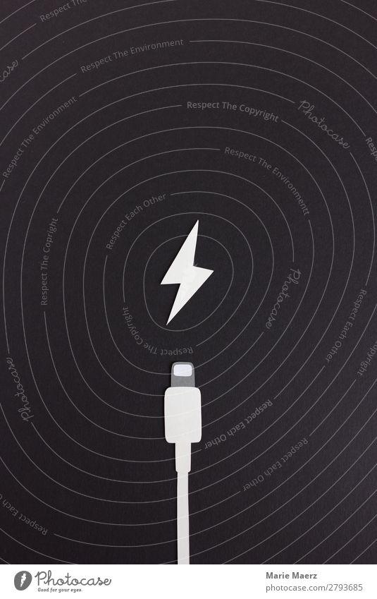 Strom bitte! weiß Erholung schwarz Lifestyle Kommunizieren Technik & Technologie Kraft Telekommunikation Energie Elektrizität Hilfsbereitschaft Neugier Kabel