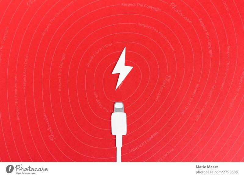Akku aufladen - Ladekabel mit Blitz Technik & Technologie machen rot Kraft Erschöpfung Energie Geschwindigkeit Liebe Stress Sucht Termin & Datum Batterie leer