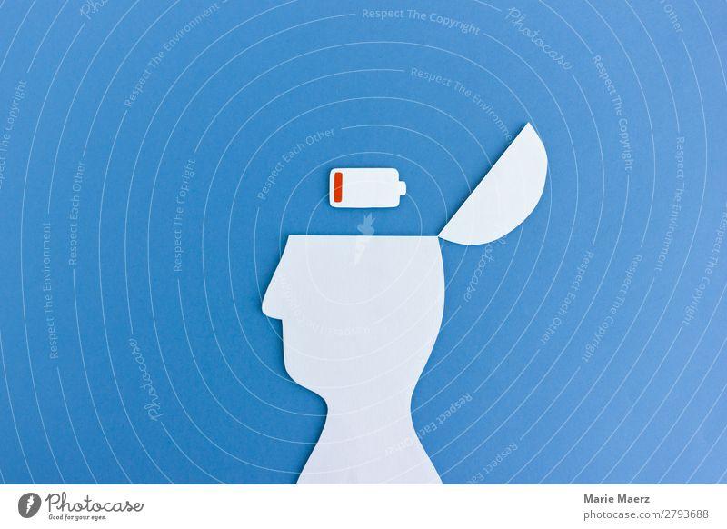 Akku leer Mensch blau Erholung Gefühle Kopf Denken Arbeit & Erwerbstätigkeit Stimmung Kommunizieren Kraft Erfolg Kreativität lernen Energie Geschwindigkeit
