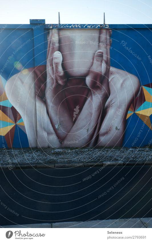 Mund- und Nasenschutz Graffiti Wand Mauer Kunst Gesicht gesichtslos Außenaufnahme Menschenleer Fassade Straßenkunst Wandmalereien Kreativität