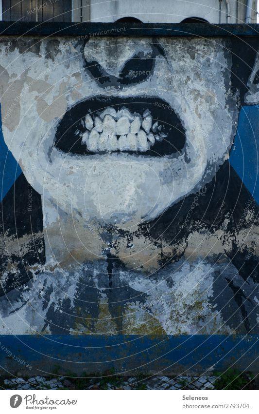 rage Mensch Gesicht Nase Mund Lippen Zähne 1 Mauer Wand Fassade Graffiti Wut Ärger gereizt Feindseligkeit Frustration Aggression Gewalt Hass Farbfoto
