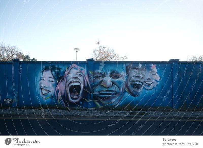 happy weekend Mensch Gesicht 5 Menschengruppe Kunst Portugal Mauer Wand Fassade Zeichen Graffiti lachen Gefühle Stimmung Freude Glück Fröhlichkeit Lebensfreude