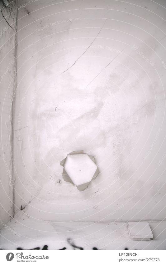 ENDdecke weiß Haus Graffiti oben grau Kunst Elektrizität Kabel Loch Decke geplatzt