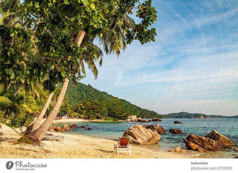 nimm platz! Ruhe genießen Sehnsucht Himmel Strand träumen Wellen Meer Licht Kontrast besonders Natur exotisch Ausflug außergewöhnlich fantastisch Sonnenlicht