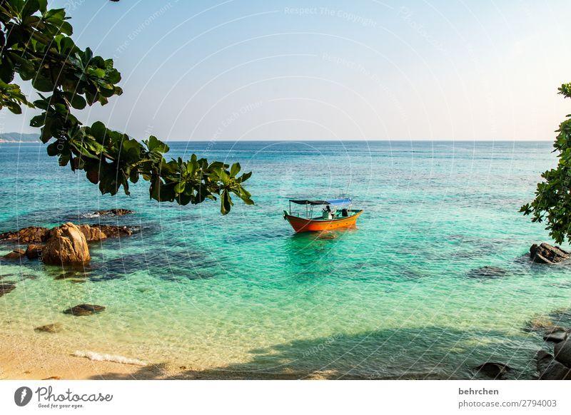 chill mal! Ferien & Urlaub & Reisen Tourismus Ausflug Abenteuer Ferne Freiheit Umwelt Natur Landschaft Himmel Sommer Wellen Küste Strand Bucht Meer Insel