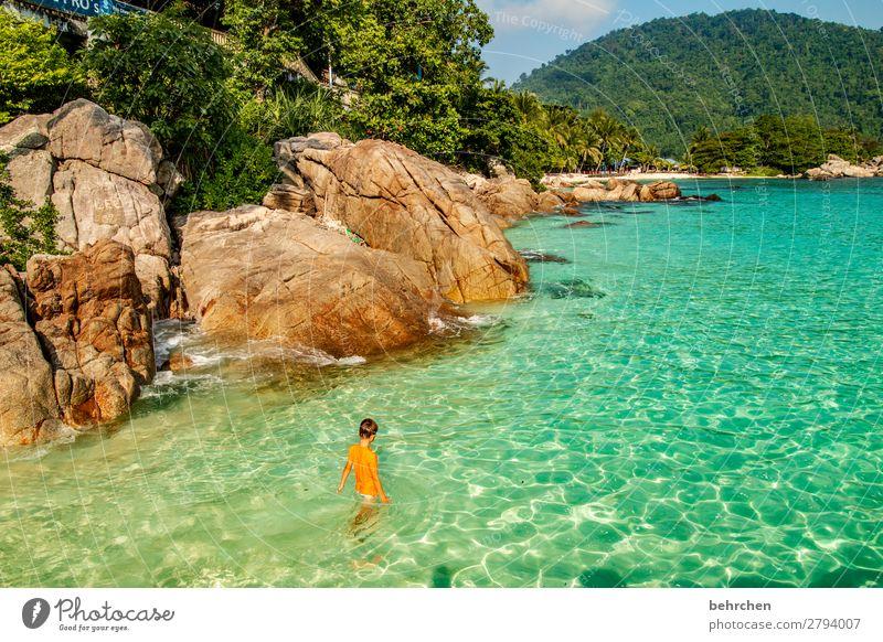 sehnsucht traumhaft Himmel Sehnsucht genießen Ruhe exotisch träumen Strand Natur Küste Ausflug Wellen Meer außergewöhnlich Licht fantastisch Abenteuer