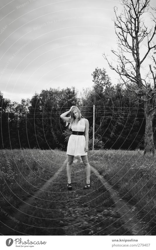 posieren Lifestyle schön feminin Junge Frau Jugendliche Erwachsene 1 Mensch 18-30 Jahre Umwelt Natur Baum Wiese Mode Kleid Gürtel Damenschuhe blond langhaarig