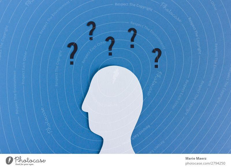 So viele Fragen - Kopf-Silhouette mit Fragezeichen Bildung Wissenschaften Karriere maskulin 1 Mensch Zeichen Denken einfach modern blau Gefühle Neugier