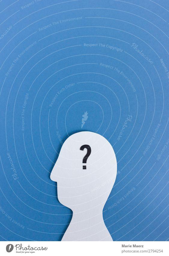 Person gesucht Wissenschaften lernen Team Mensch Kopf 1 Schriftzeichen Fragezeichen Denken frei blau Wahrheit beweglich Weisheit Erwartung Idee Problemlösung