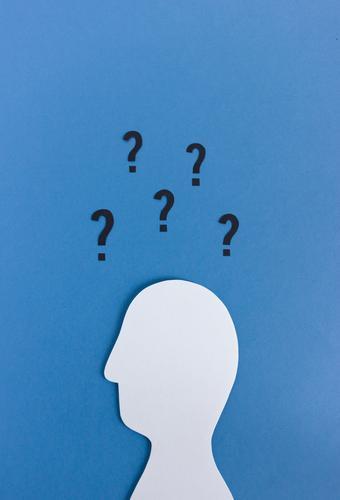 Wer? Wie? Warum? Wohin? Bildung Wissenschaften Business Karriere maskulin Kopf 1 Mensch Denken Kommunizieren Neugier blau Gefühle Wachsamkeit einzigartig