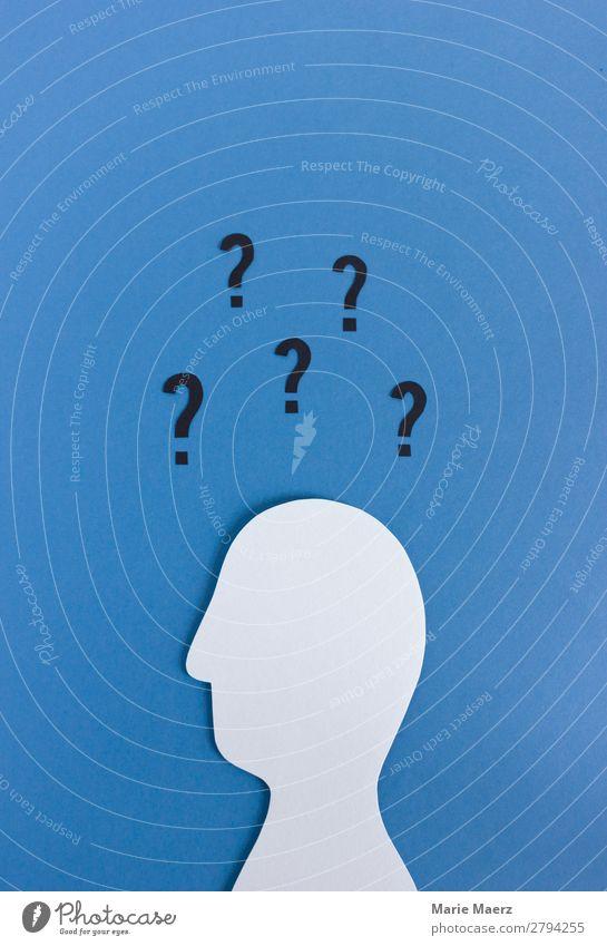 Wer? Wie? Warum? Wohin? Mensch blau Gefühle Business Kopf Denken maskulin Kommunizieren einzigartig Neugier geheimnisvoll Bildung Suche Wissenschaften