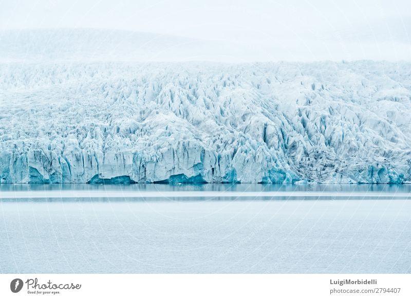 Fjallsarlon Gletscherlagune, Island Ferien & Urlaub & Reisen Insel Winter Schnee Berge u. Gebirge Natur Landschaft Wasser Himmel schlechtes Wetter Nebel Hügel