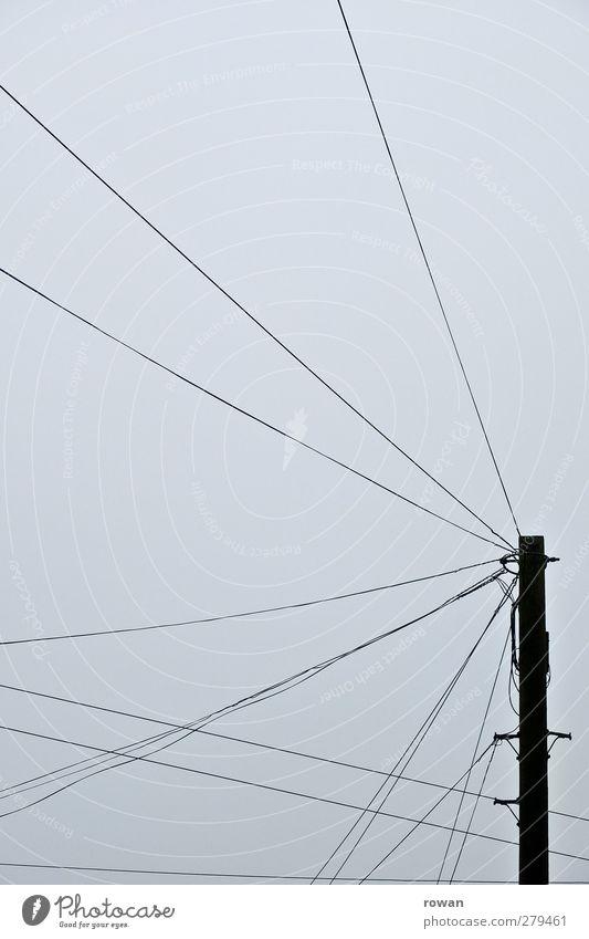 kabelsalat Energiewirtschaft grau Elektrizität Strommast Kabel Kabelsalat unordentlich Linie Vernetzung Stromverbrauch Stromtransport Telefonmast Anschluss