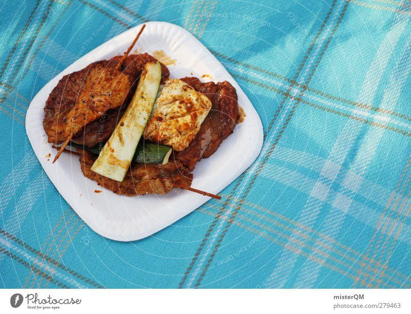 Grillgut. Kunst ästhetisch Grillen Fleisch Fleischgerichte Teller Decke Steak Grillsaison Farbfoto Gedeckte Farben Außenaufnahme Nahaufnahme Detailaufnahme