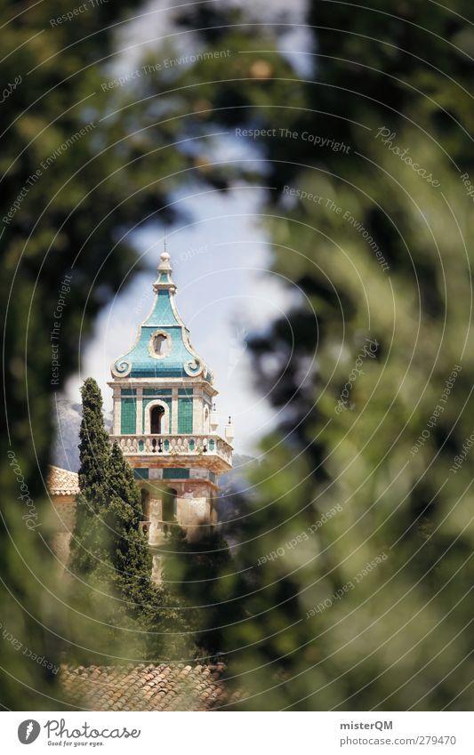 magical place. Umwelt Natur Landschaft Pflanze Abenteuer Durchblick Turm Turmspitze Turmbau Hecke Neugier Valldemossa Mallorca Spanien friedlich Kloster Idylle