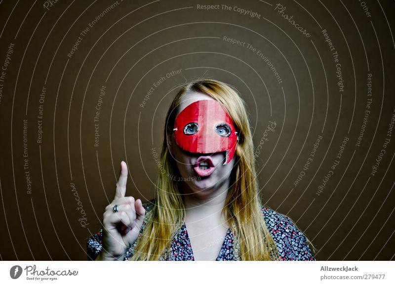 Quotegirl mahnt Mensch Jugendliche Erwachsene feminin sprechen Junge Frau lustig 18-30 Jahre blond Kommunizieren retro Internet Maske Medien Beratung trendy