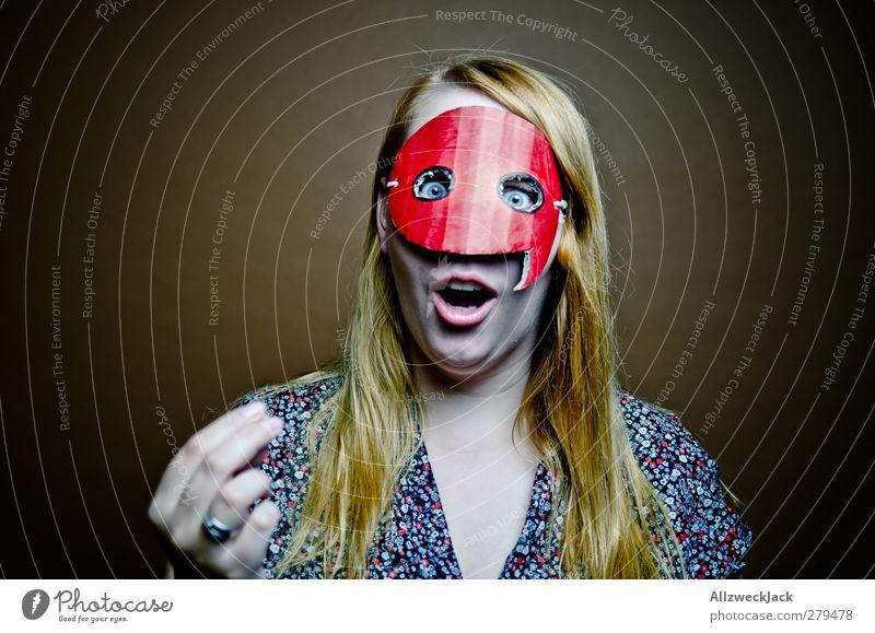 Quotegirl: Mit Fingerspitzengefühl! Mensch Jugendliche Erwachsene feminin sprechen Junge Frau lustig 18-30 Jahre blond Kommunizieren retro Internet Maske Medien